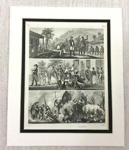 1849-Antique-Engraving-Print-American-Slaves-Plantation-Native-American-Indians