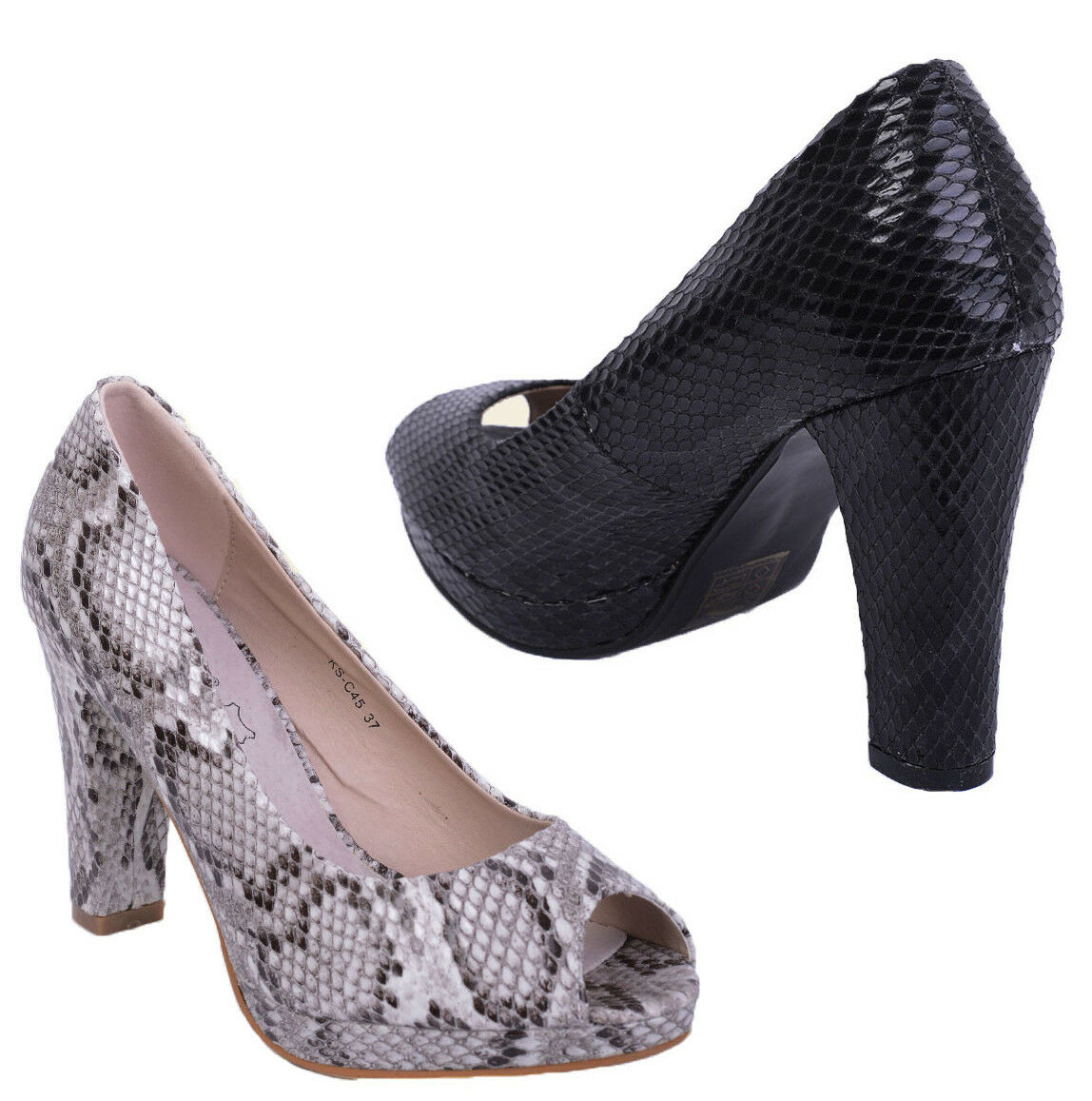 S37 - Ladies High Snakeskin Peep Toe Block High Ladies Heel Evening Court Shoes - 639c9e