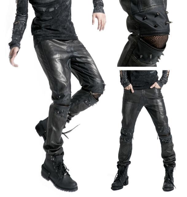 Hombre Gótico Punk Rave Pantalón Remaches Pantalones pitillo negro plata k