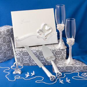 Interlocking-Heart-Wedding-Accessory-Cake-Knife-Server-Toasting-Flute-Set-NIB