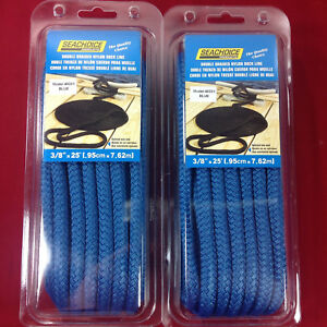 SET-OF-2-DOCK-LINE-DOUBLE-BRAIDED-NYLON-ROPE-3-8-034-x-25-039-BLUE