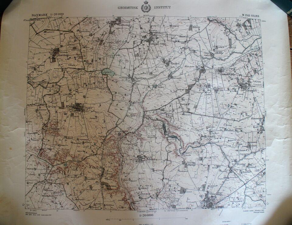 Landkort, motiv: Skanderborg området