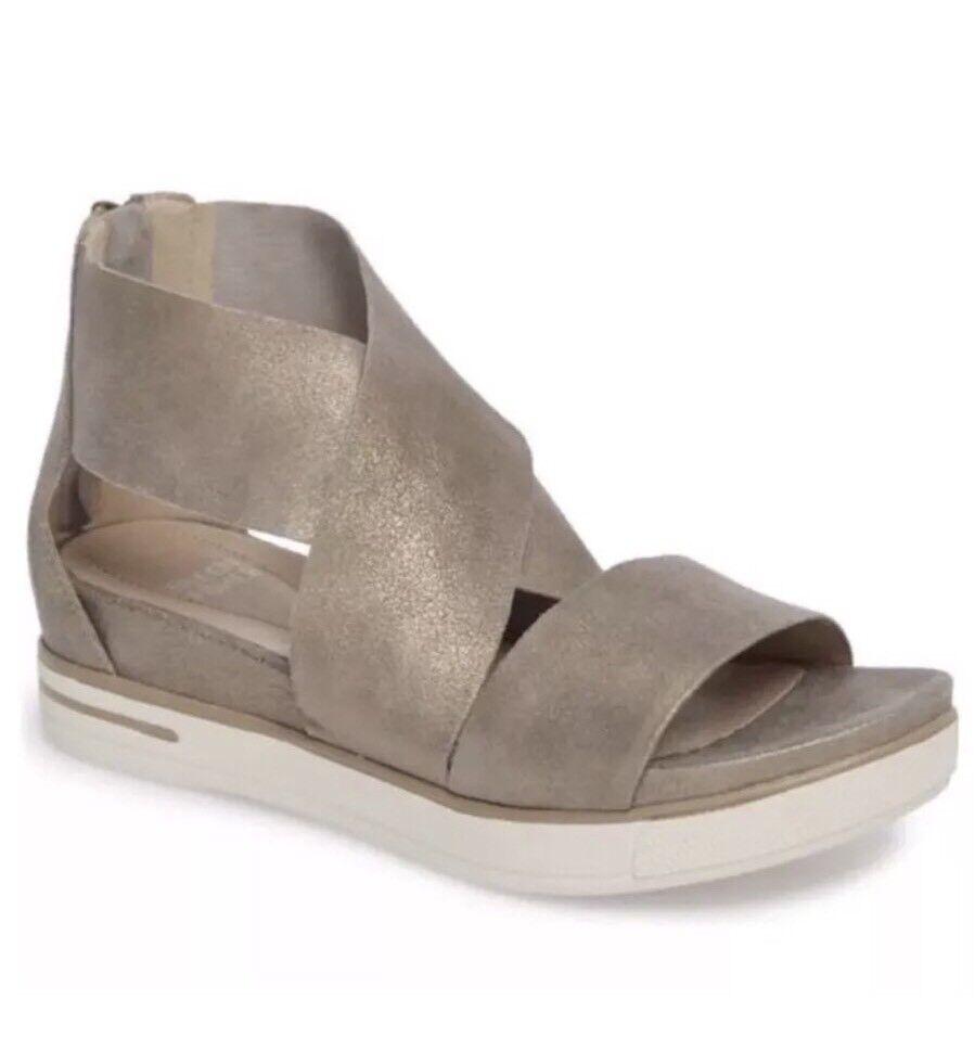 Eileen Fisher Sport Platform Sandal Sandal Sandal Platinum läder Storlek 9.5  grossistaffär