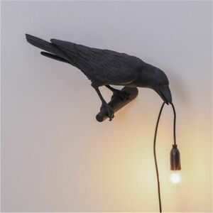 Seletti Style Raven Lamp Wall Light Black White Novelty Bird Resin Crow Bedside