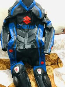 Red//White 1.2mm Cowhide Leather CE Armour Motorcycle Motorbike Full Racing Suit