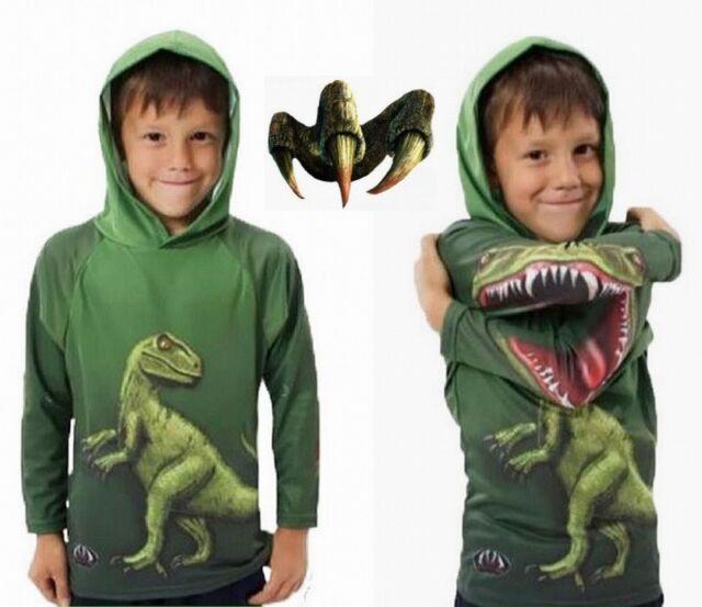 Boys Hoodies Kids Clothes Dinosaur Costume Cosplay Children Outwear Shirt 6-7Y