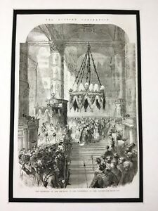 1856 Russian Royalty Antique Print Coronation of Tsar Alexander II Romanov