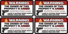 Owner is Armed Warning 2nd Amendment Guns Firearm Sticker Decal Sheet of 4