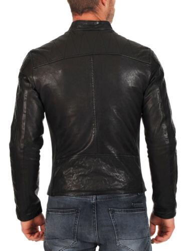 Da Uomo Club Black Giacca in Vera Pelle Vintage Slim Fit Giacca