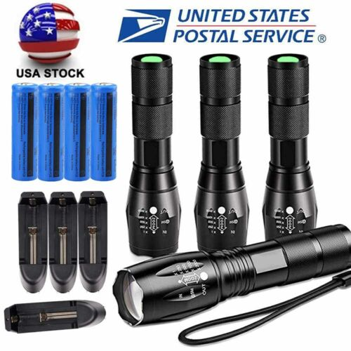 Tactical 350000LM T6 LED Flashlight 18650 Ultra Bright Zoomable Torch Light Lamp