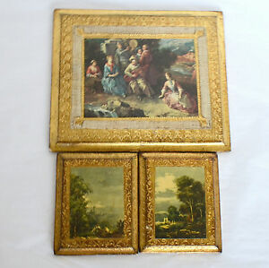 3-VTG-Regency-Italy-Gold-Toleware-Florentine-Art-Print-Wall-Plaque-Hanging-Wood