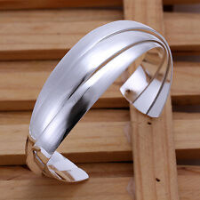 Unisex Men Womens 925 Sterling Silver Cuff Bangle Bracelet L86
