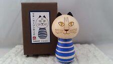 Official Lisa Larson BLUE CAT Sosaku Kokeshi Japanese Wooden Doll