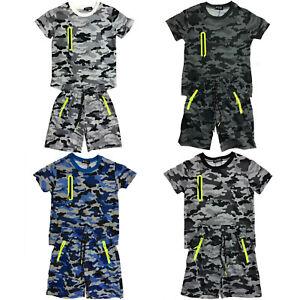 Boys-Kids-T-Shirt-Short-Set-Camo-Army-Camouflage-Summer-Shorts