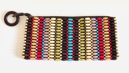 Multi-Colored Wood Beaded Bead Clutch Handbag Bag