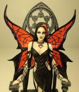 ANNE-STOKES-ARACNAFARIA-Black-Widow-Spider-Gothic-Fairy-Statue-Hand-Painted