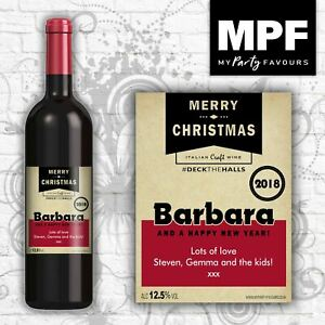 Personalised Christmas Wine Bottle Label - Any Names and message