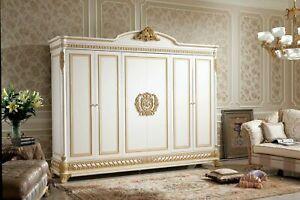 Détails sur Penderie Chambre à Coucher Bois Armoire Style Antique Baroque  Rokoko E62