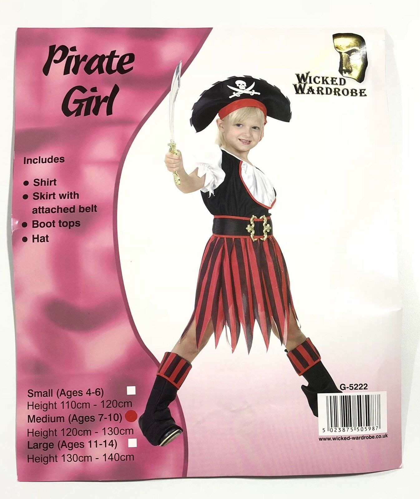 Girls Pirate Costume Child Caribbean Captain Fancy Dress Outfit Halloween Kids