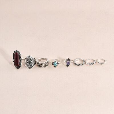 8pcs Boho Vintage Retro Gem Alloy Midi Finger Ring Above Knuckle Band Jewelry