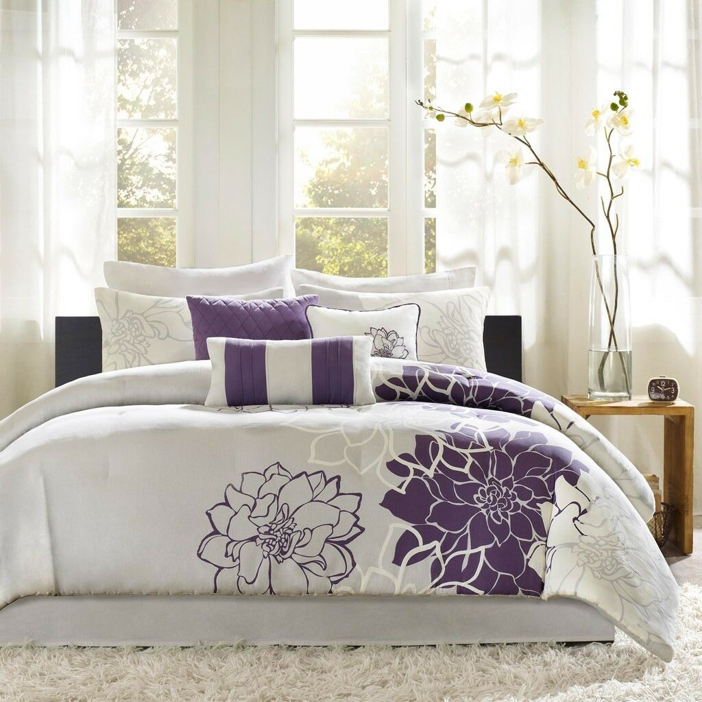 Queen Size Lola Comforter Set Cotton Purple Transitional Madison Park MP10-257