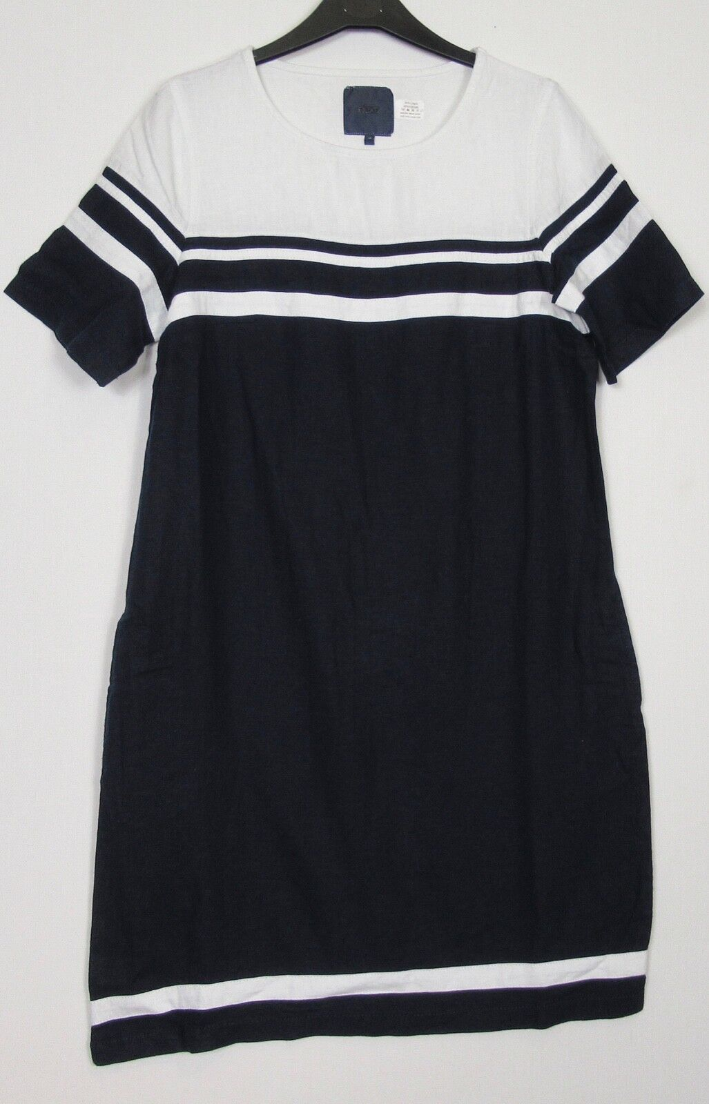 Next Navy White   Colourblock Linen Blend Tunic Dress - 8 - 18