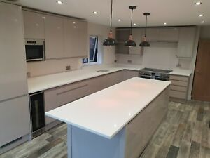 Details About Gloss White Quartz Worktops Granite All Colours Available Kitchens