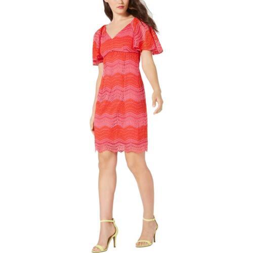 Trina Trina Turk Womens Lace Overlay V-Neck Cocktail Party Dress BHFO 3660