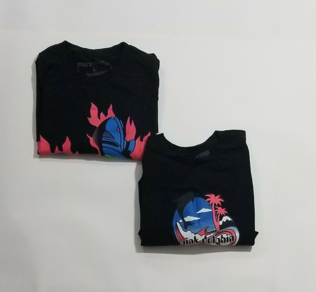 2 PINK DOLPHIN Graphic T-Shirts Black Men Size La… - image 1