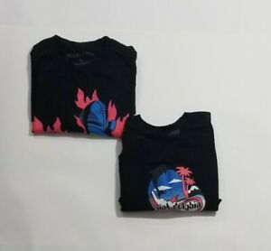 2-PINK-DOLPHIN-Graphic-T-Shirts-Black-Men-Size-Large