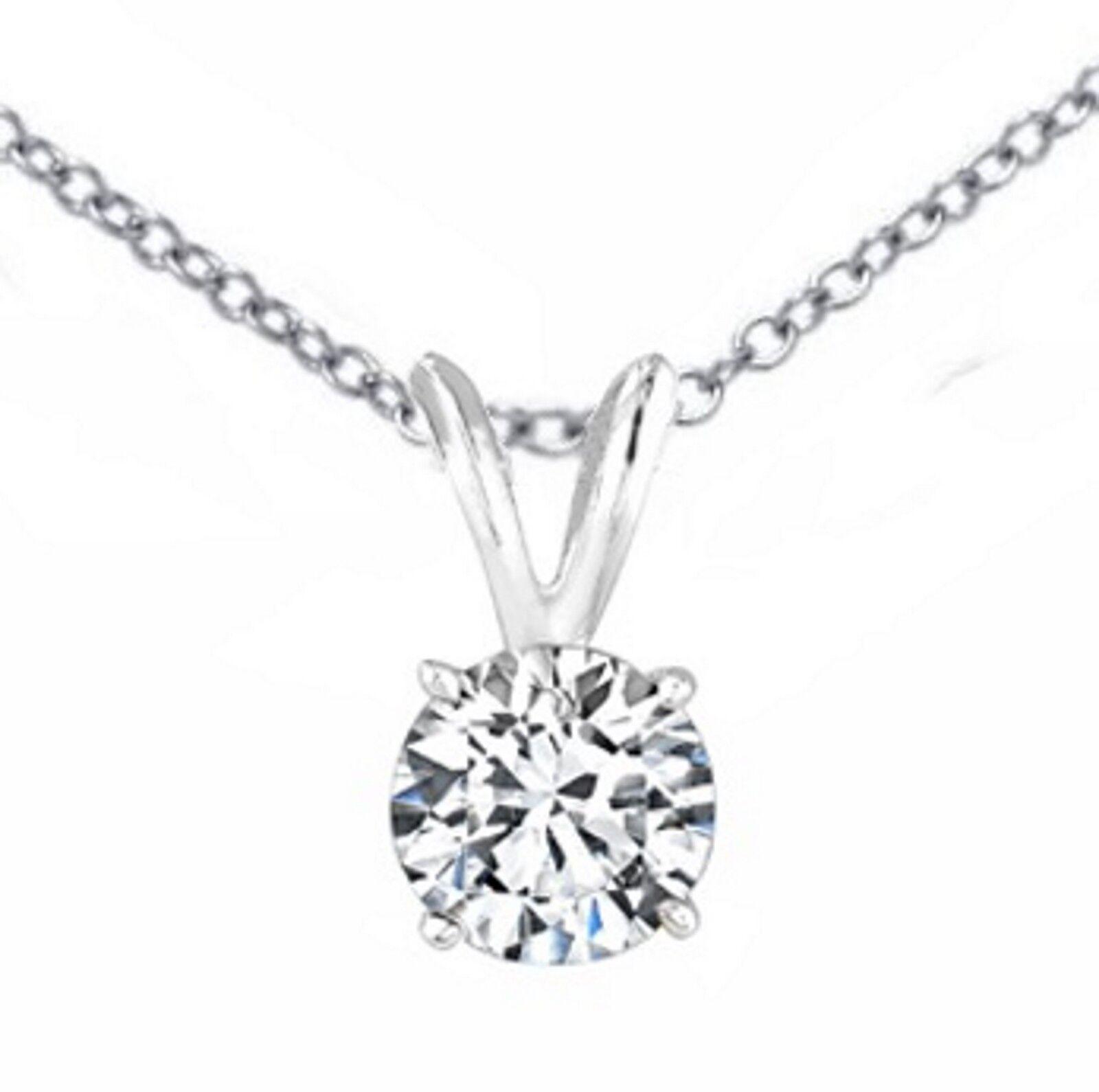 0.25 ct ROUND CUT Solitaire diamond pendant 14k White gold W CHAIN  H I1 18