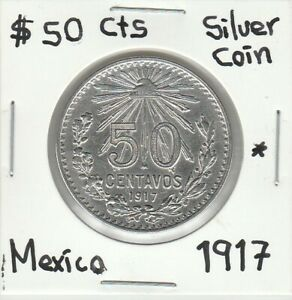 "Mexico: $ 50 Cts Super Nice Silver Coin Year "" 1917 """