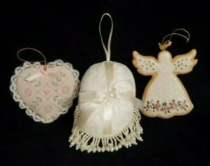 Victorian-Style-Christmas-Ornament-Lot-Fabric-Lace-Beads-Ceramic-Pink-Rose-3pc