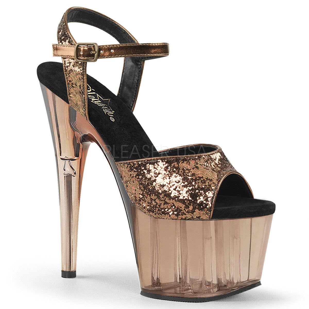 Pleaser ADORE-710GT Damenschuhe Light Bronze Glitter Tinted High Heel Platform Sandale