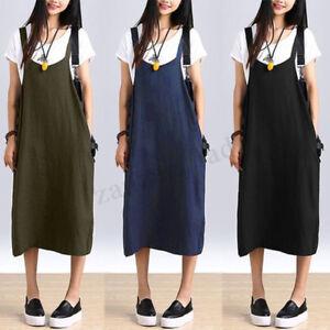 ZANZEA-Women-Summer-Sleeveless-Strappy-Baggy-Cotton-Shirt-Dress-Dungarees-Plus