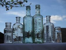 6x LONDON CHEMIST MEDICINE CURE APOTHECARY HOUSEHOLD VINTAGE OLD ANTIQUE BOTTLES