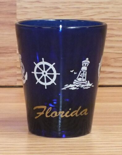 "2 14"" inch Dark Blue Collectible Barware Florida Shot Glass Only READ"