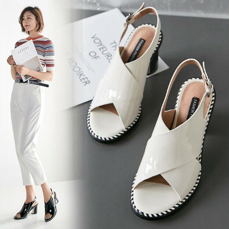 Women Ladies Fashion Patent Leather Block Heel Slingback Beach Sandals Shoes SKG