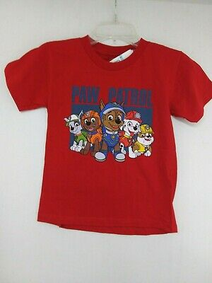 Boys Red Short Sleeve T Shirt with Paw Patrol detail