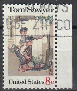 Estados unidos sello con sello 8c Tom Sawyer Historia libro infantil borde/6078