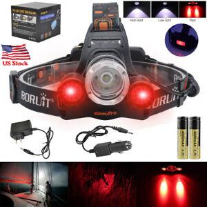 BORUiT-80000Lm-XML-T6-3-LED-Headlamp-Hunting-Head-Bike-Light-Torch-18650-Charger