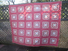 "Antique Pink & Off White Album Block Quilt 80"" x 66"""