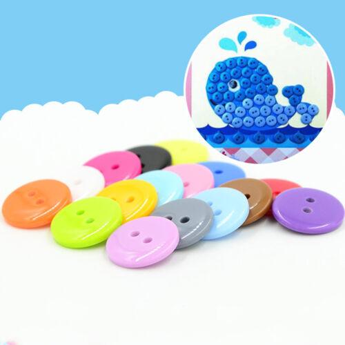 100Pcs Mixed Round Resin Buttons 2 Hole Craft Sewing Scrapbook Craft DIY 9-25mm