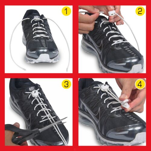 LaceNLock Elastic No-Tie Laces Sport Shoe Lock For Running Jogging Triathlon New