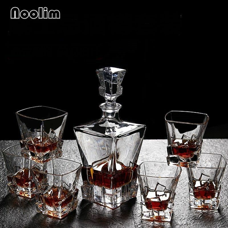 Crystal Glass Whiskey Decanter With Wine Cups Wine Bottle Bar Sets New