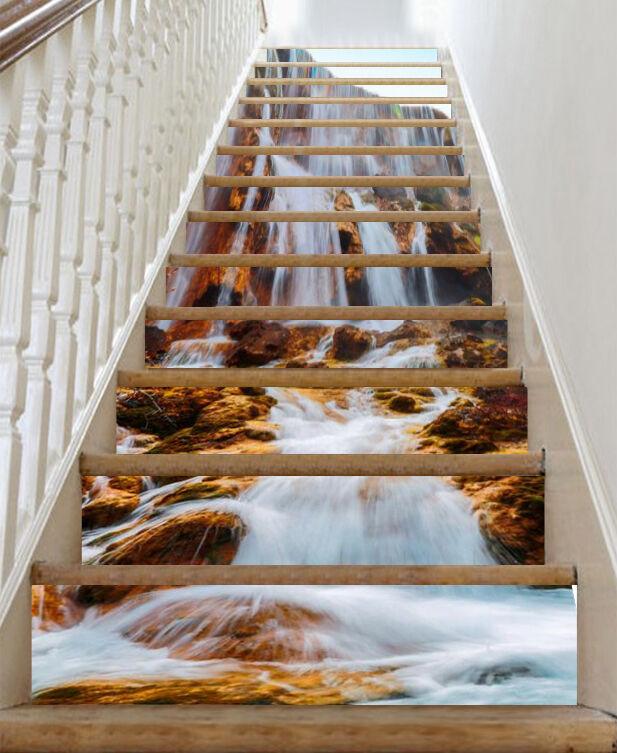 3D Cascade 2 contremarches Décoration Photo Murale Autocollant Vinyle Papier Peint UK