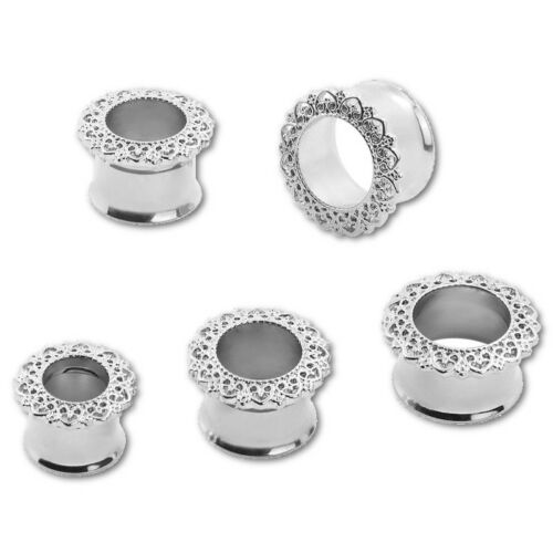 Pair of Filigree Hearts Stainless Steel Ear Tunnels Single Flared Plugs Gauges
