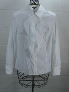 New-Escada-White-Ruffle-Zip-Up-Shirt-Blouse-European-Size-44-NWT-490