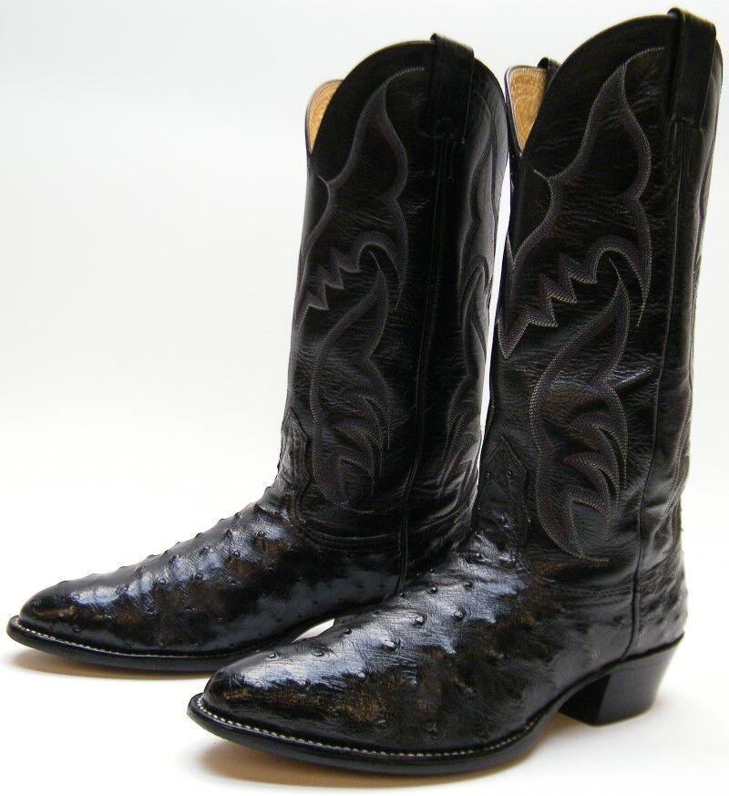MENS NOCONA 82601 GENUINE OSTRICH QUILL schwarz COWBOY WESTERN Stiefel SZ 7.51 2 D