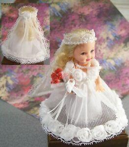 """Wedding Bridal Bride FASHION by glammourdoll OOAK fits 4"""" Kelly"""